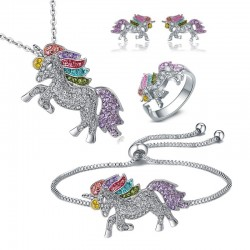 Crystal unicorn - silver & gold necklace