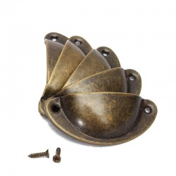 Shell shaped furniture handles with screws - 8 pieces